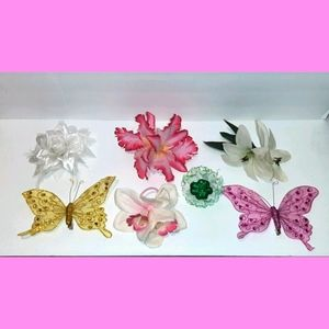 Lot of 11 Various Hair Floral Retro Accessories